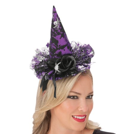 Halloween Witch Headband Hat with Spider Accents, Purple and Black, One Size Fits All
