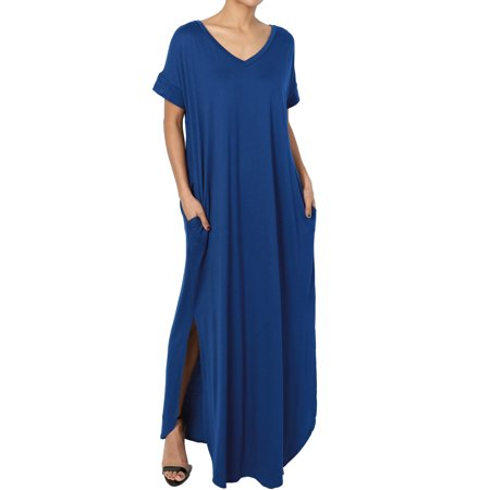 - TheMogan Women's Viscose Jersey V-Neck Short Sleeve Relaxed T-Shirt Slit Maxi Dress