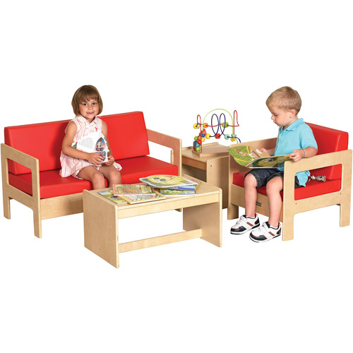Early Childhood Resources 4 Piece Living Room Set, Birch/Red