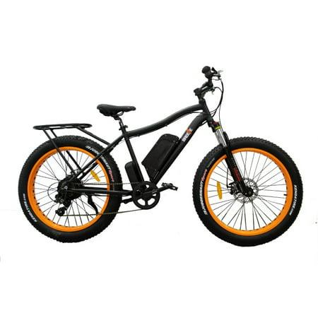 Breeze Fat Tire Electric Mountain Bike 500W, 48V 7 Speed Gear, Black