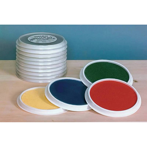 "Center Enterprises Jumbo Circular Washable Paint Stamp Pads, 6"", Assorted Colors, Set of 4"
