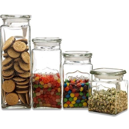 Circleware 66877 Yorkshire Canister with Glass Lid, Set of 4 Home Kitchen Glassware Food Preserving Storage Container for Coffee, Sugar, Tea, Spices, Cereal, 80 oz./57 oz./43 oz./28 oz, Clear - Led Glassware