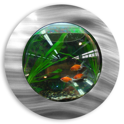 Brushed Aluminum Fish Bubble - Deluxe Wall Mounted Fish Tank