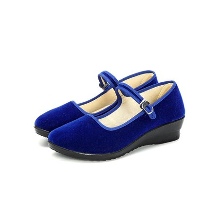 Meigar Womens Ladies Mid Wedge Heel Mary Jane Hotel Work Strap Shoes Ballet Cotton Flat Dancing shoes