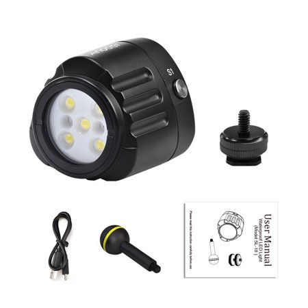 Andoer SL-18 Professional Diving LED Video Light 1000LM Amphibious Waterproof LED Fill-in Light IPX8 Underwater 40m/130ft for GoPro Action Camera DSLR Cameras Smartphone Drone and Camcorder - image 4 de 7