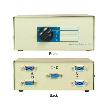 Kentek VGA HD15 4 Way Manual Data Switch Box 15 Pin Female I/O ABCD Port for PC MAC to Video Display -