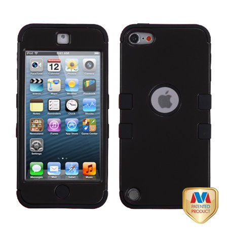 Rubberized Protector Case (Apple iPod touch 5 MyBat TUFF Hybrid Protector Case, Rubberized Black/Black )