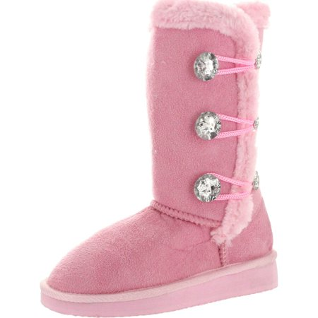 "Static Girls Toddler Fashion 7"" Microsuede Boots with Jewels and Faux Fur"