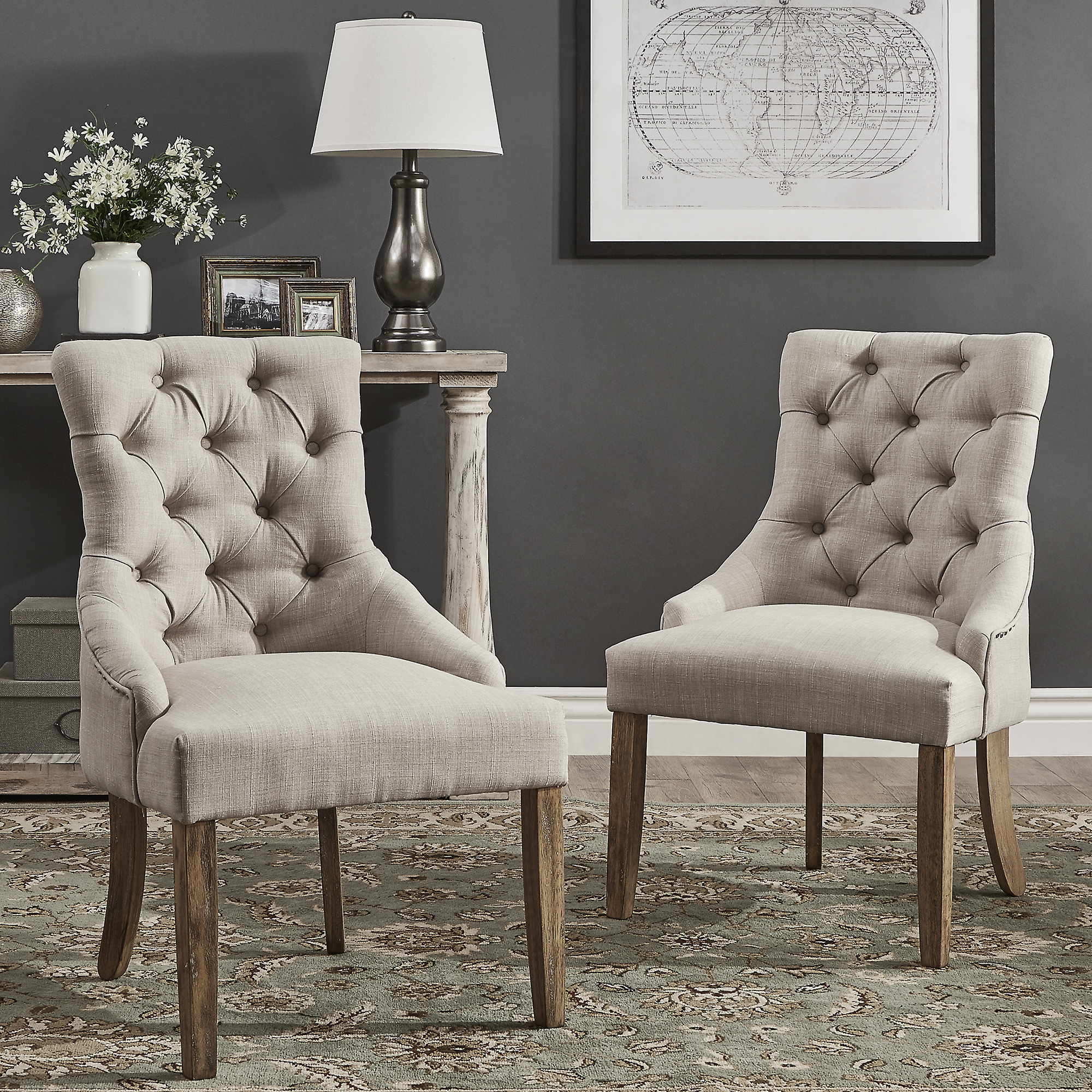 Chelsea Lane Curved Back Tufted Dining Chair, Set of 2