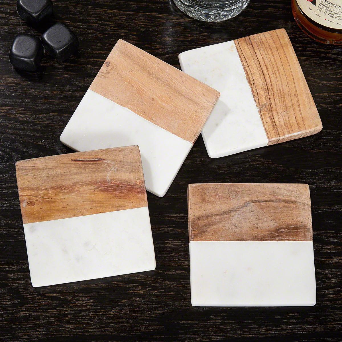 Ingram White Marble & Acacia Wood Coasters Modern Clean Design, Set of 4 by HomeWetBar