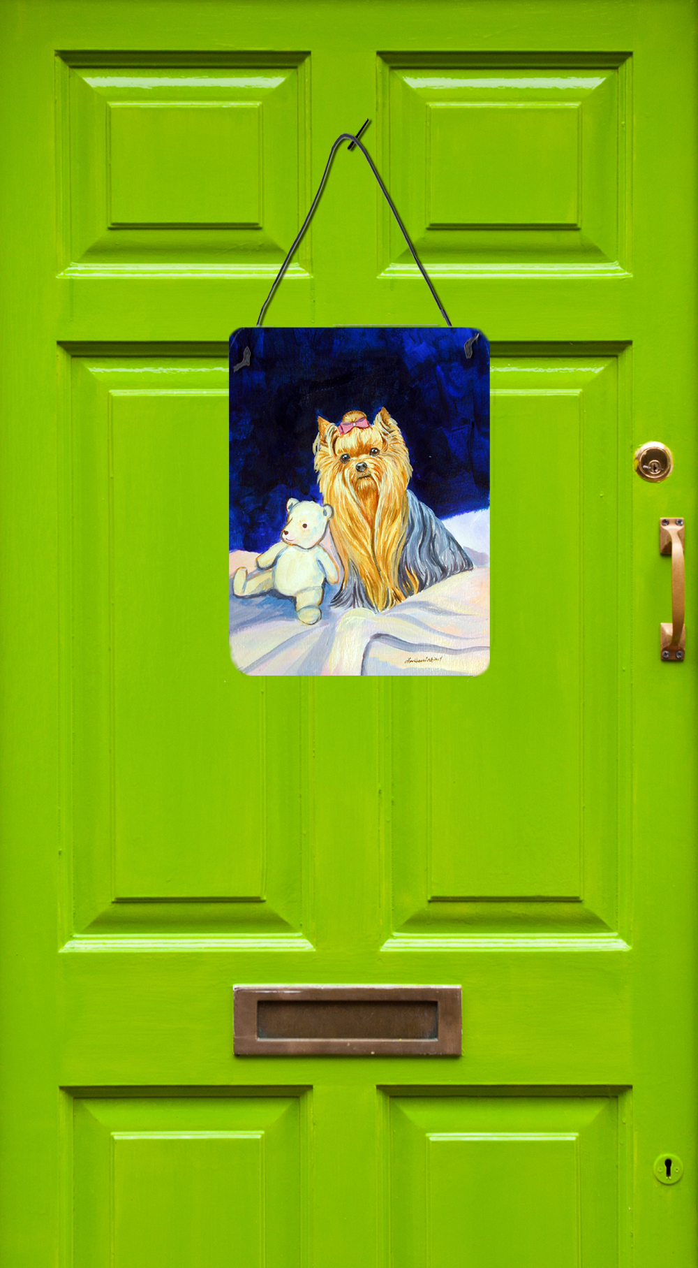 12x16 Carolines Treasures 7221DS1216 Yorkie and Teddy Bear Aluminium Metal Wall or Door Hanging Prints Multicolor