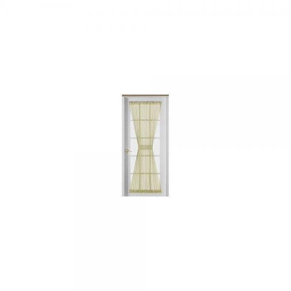 72 Inch Sheer Voile French Door Panel Curtain, Beige