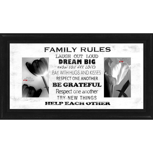 "Family Rules White I 20"" x 10"" Collage Picture Frame"