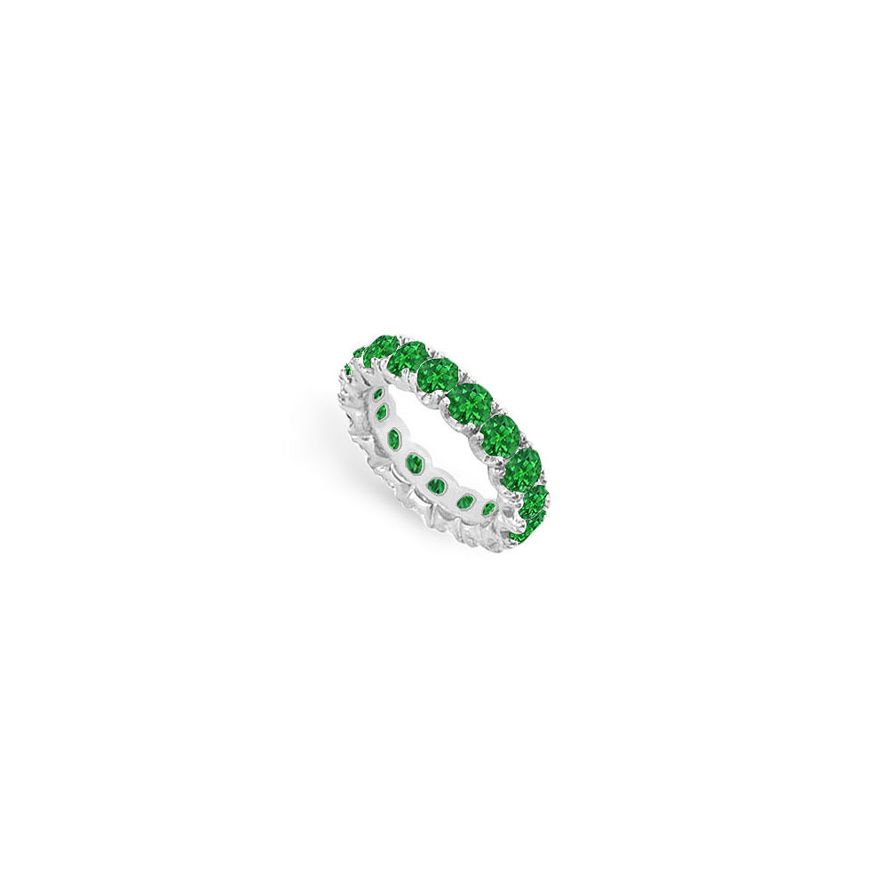 8 Carat Created Emerald Eternity Bands in 925 Sterling Silver Prong Setting - image 2 de 2