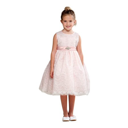 Crayon Kids Girls Blush Pink Embroidered Brooch Flower Girl Dress for $<!---->