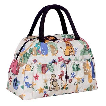 Ecokaki(TM) Cute Printed Polyester Lunch Box Luxury Women Lady Girl Cosmetic Makeup Bag Beach Bags Purse Satchel Handbag, Animal Sell Luxury Handbags