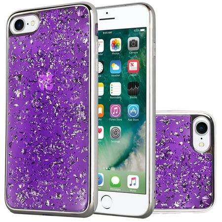 Insten Frozen Glitter Dual Layer Hybrid Hard Snap-in Case Cover For Apple iPhone 6/6s - Dark Purple/Silver