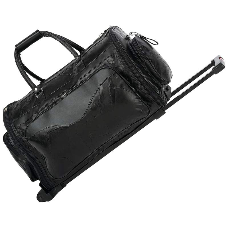 "Embassy™ Italian Stone™ Design Genuine Leather 21"" Folding Trolley/Tote Bag"