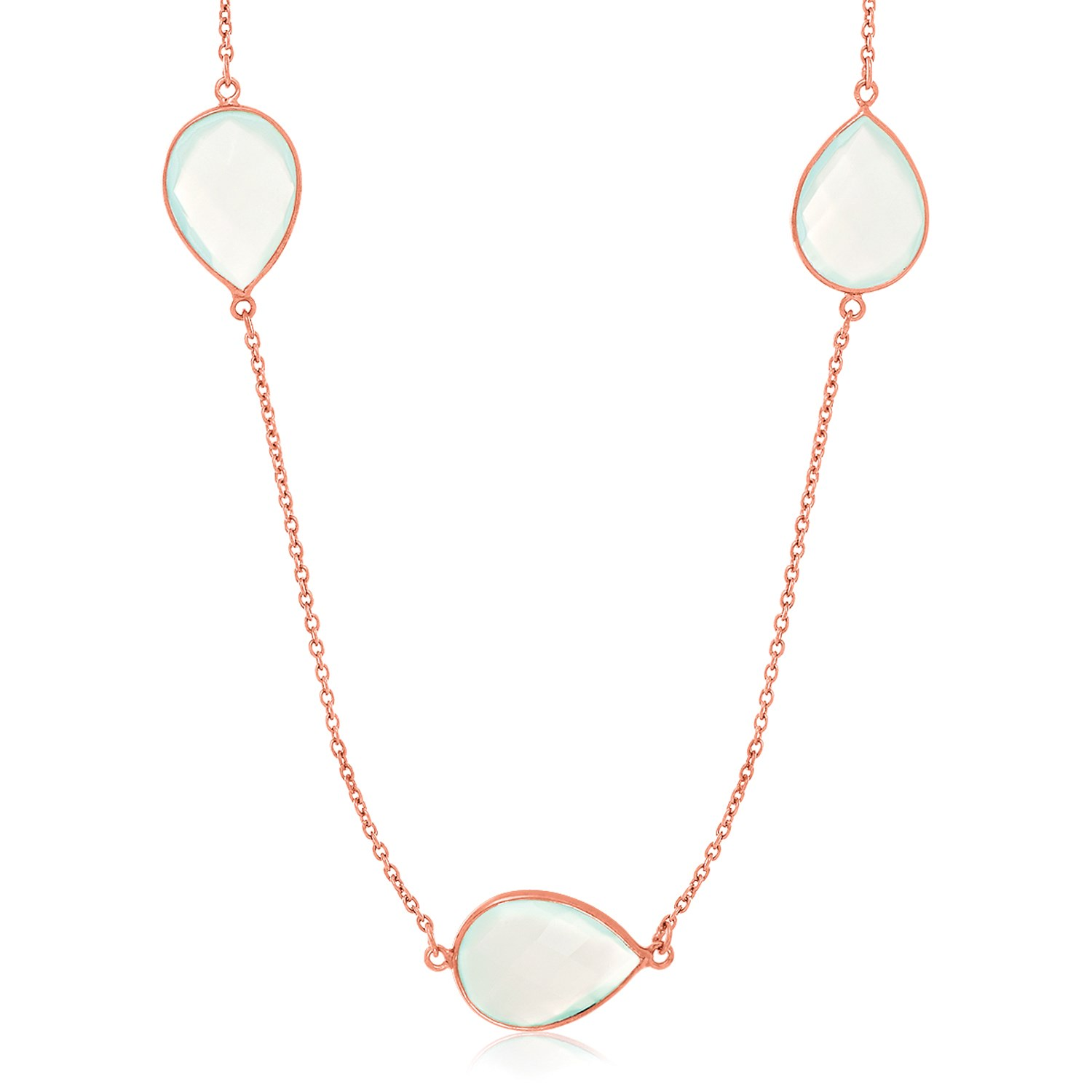 "Sterling Silver Rose Gold Plated Teardrop Station Long Necklace with Aqua Chalcedony 38"" by Mia Diamonds"