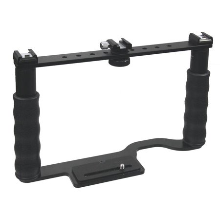 ALZO Transformer DSLR Rig, Camera Cage Bracket with Shoe Mounts and Hand (Multi Camera Bracket)