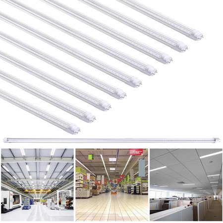 Yescom 1/10/25 Packs 18W T8 4FT LED Light Fluorescent Tube 6500K Cool White Replacement Lamp Bulb Milky/Clear ()