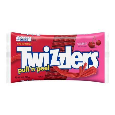 TWIZZLERS, PULL 'N' PEEL Cherry Flavored Chewy Candy, Valentine's Day Candy, 14 Oz., Bag