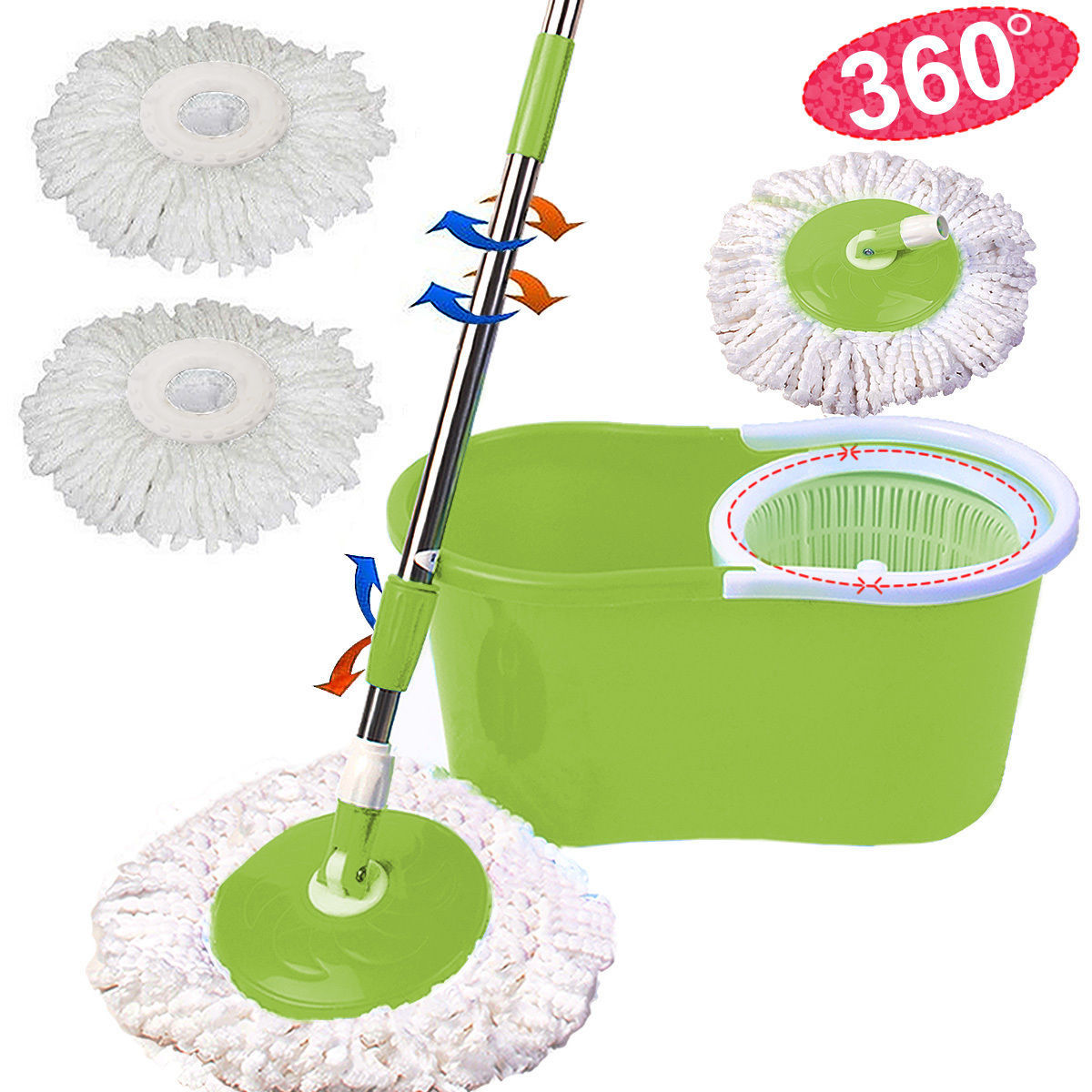 Zimtown Microfiber Spining Magic Mop W/Bucket 2 Heads Rotating 360 degree Easy Floor Mop