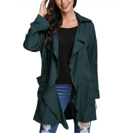 79e1d440085 Zanzea - Women s Chiffon Lapel Long Sleeve Loose Thin Trench Coats ...