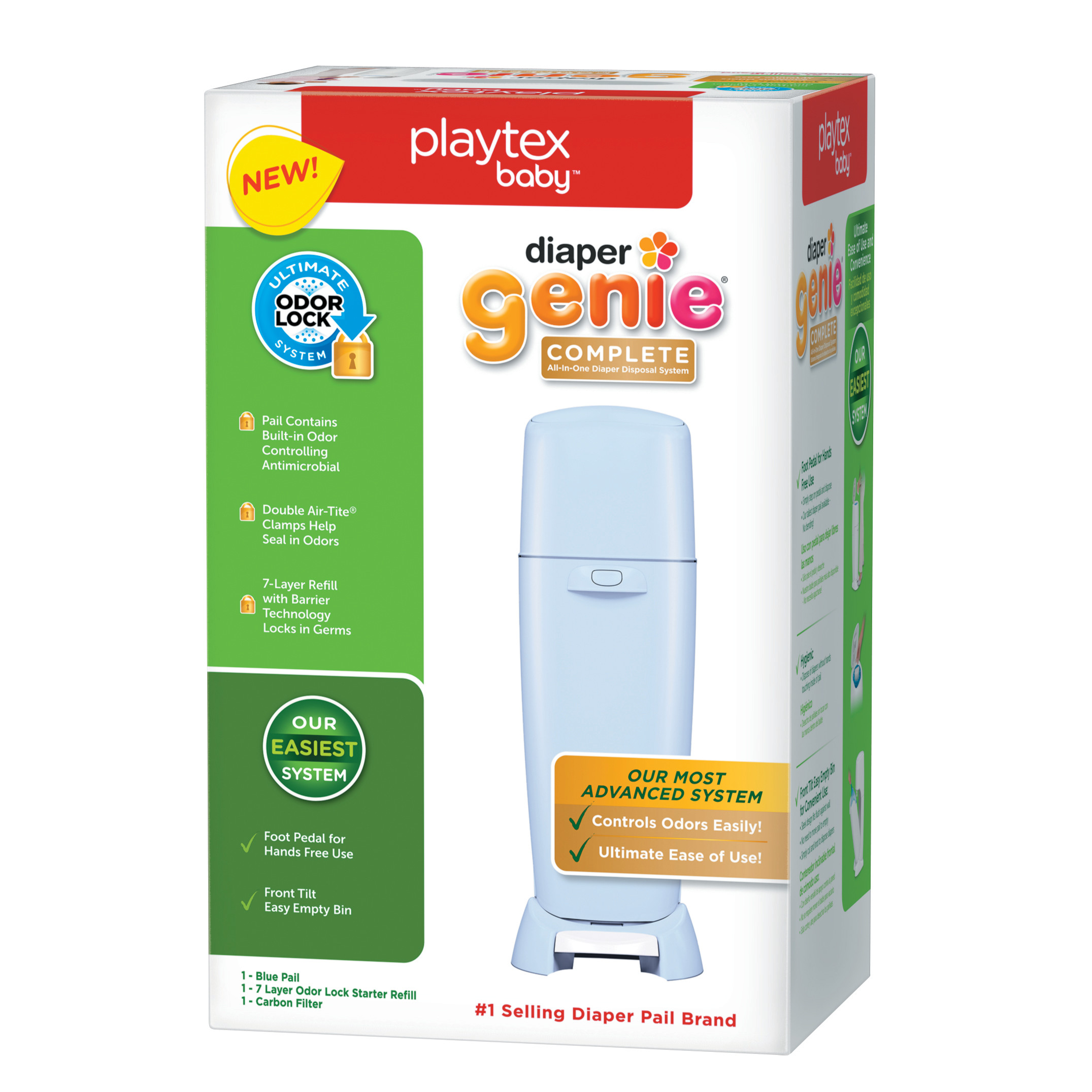 Playtex Baby Diaper Genie Complete Diaper Pail With Odor Lock Technology Blue