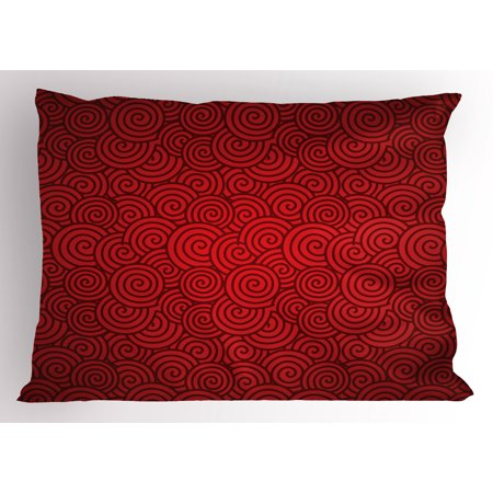 Red Pillow Sham Swirl Lines Spirals Abstract Design with Chinese Culture Influences for New Year Celebration, Decorative Standard Size Printed Pillowcase, 26 X 20 Inches, Red, by - Chinese New Year Celebration Ideas