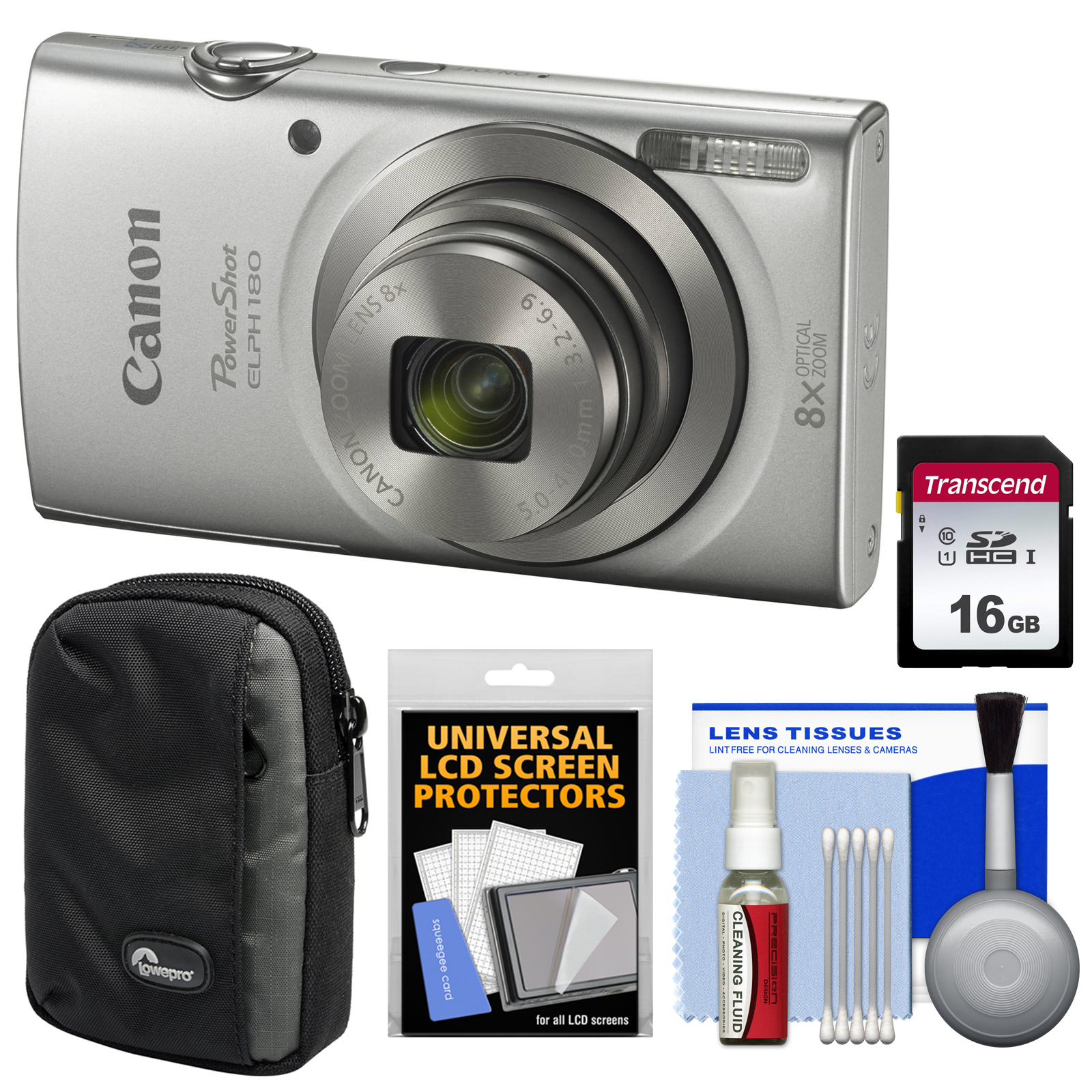 Canon PowerShot Elph 180 Digital Camera (Silver) with 16GB Card + Case + Kit