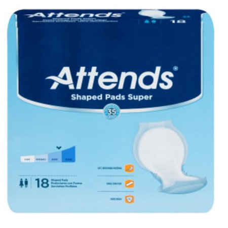 Attends Pad (Attends Bladder Control Pad Shaped Super 24-1/2 Inch Unisex Case of 72 )