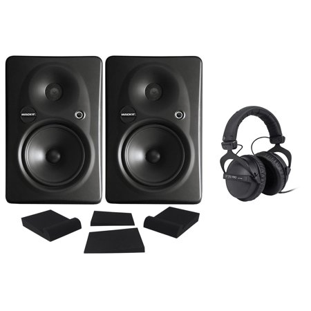 - (2) Mackie HR624 MKII HR-624 MK2 Powered THX Studio Monitors + Headphones + Pads