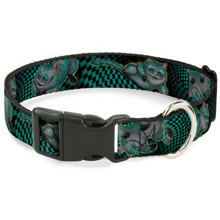 Plastic Clip Collar Cheshire Cat 4 Poses Checkers Teal Black Large 15