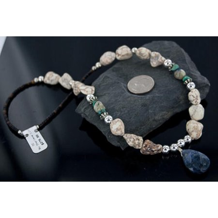 Large Certified Authentic Navajo .925 Sterling Silver Natural Turquoise Lapis Native American