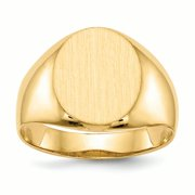 14K Yellow Gold 14 MM Men's Oval Engravable Signet Ring, Size 10