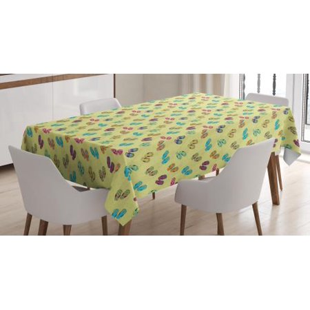 Flip Flop Tablecloth, Colorful Slippers on Sandy Beach with Various Pattern of Polka Dots and Floral, Rectangular Table Cover for Dining Room Kitchen, 60 X 90 Inches, Multicolor, by Ambesonne - Flop Of The Pops