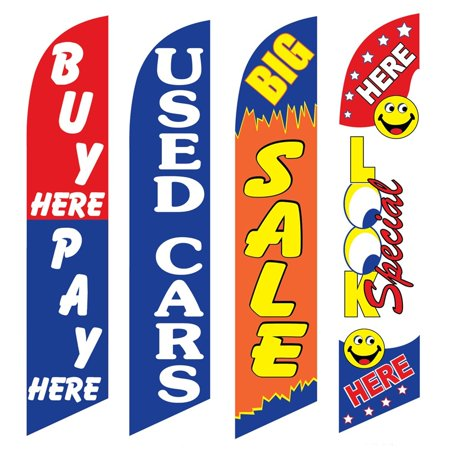 4 Advertising Swooper Flags Buy Pay Here Used Cars Big Sale Look Special Here