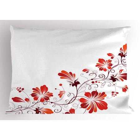 (Chinese Pillow Sham Chinese Traditional Purity Symbol Blossoms with Curved Lace Like Branch and Leaves, Decorative Standard Queen Size Printed Pillowcase, 30 X 20 Inches, Red White, by Ambesonne)
