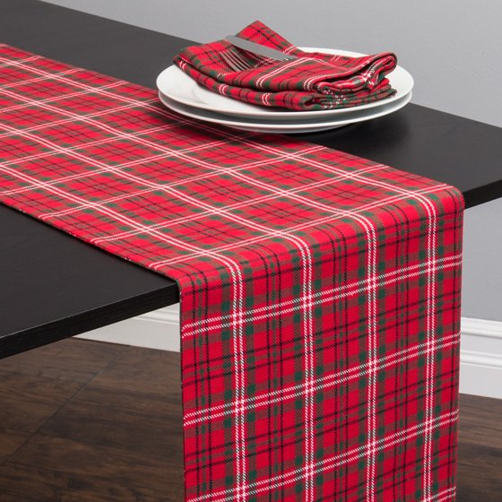 Christmas Kitchen Towels At Walmart: Linen Tablecloth Holiday Plaid Table Runner, Red And Green