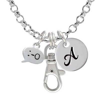 Emoticon :-O - Surprise - A - Initial Badge Clip Necklace