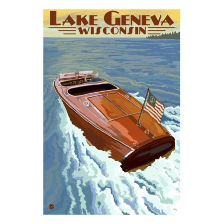 - Lake Geneva, Wisconsin - Chris Craft Wooden Boat Print Wall Art By Lantern Press