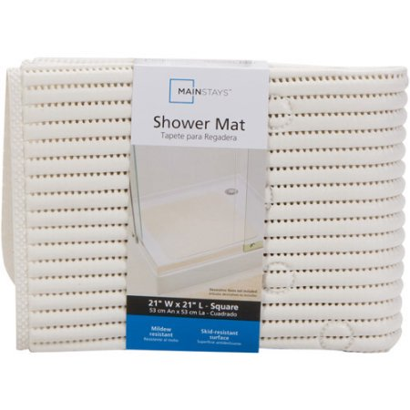 Mainstays Cushioned Shower Mat White 21 In X 21 In