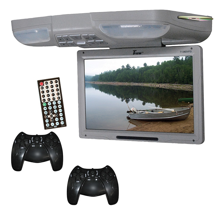 Flip Down Monitors Usb Sd 13-inch Flip Down Monitor Dvd 2 Joysticks  - Gray