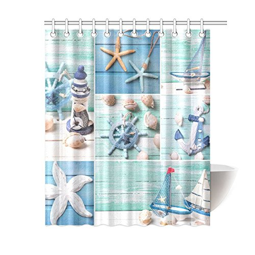 GCKG Sea Theme Sandy Beach Shower Curtain Wooden Starfish Seashells Polyester Fabric Bathroom Sets 60x72 Inches
