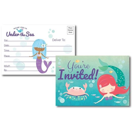 Under The Sea Mermaid Birthday Invitations, 25 Fill in Mermaid Party Invitations Postcards, No Envelopes Needed, for Any Occasion for Women & Kids (Invitations) - Kids Invitations