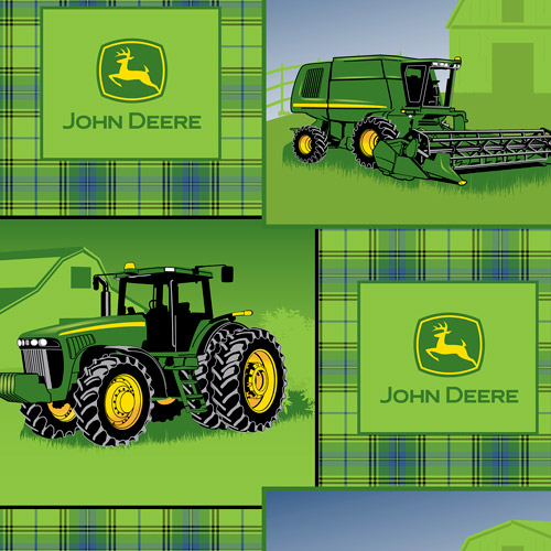 Springs Creative John Deere Plaid Patch Fabric by the Yard