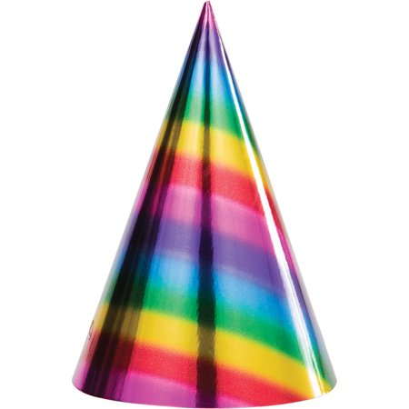 Club Pack of 96 Multi-Colored Rainbow Foil Birthday Party Cone Hats 8