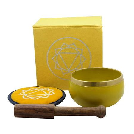 Tibetan Palm Size Solar Plexus Chakra Singing Bowl Premium Gift Set (Crystal Singing Bowl Set)