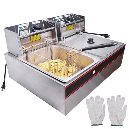 12L 5000W Commercial Deep Fryer Stainless Steel Electric Countertop Dual Tank for